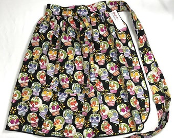 Half Apron - Vintage Pin Up Skirt Style - Sugar Skulls