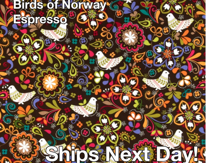 FABRIC - Michael Miller - Birds of Norway - Espresso - 100% Cotton - By the Yard - Ships Next Day From The US