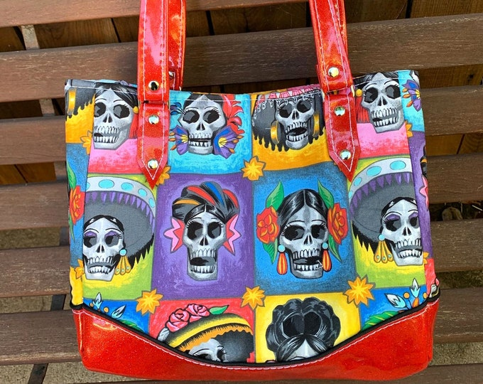 Vinyl Shoulder Bag - La Señoras Elegantes La Calavera Catrina - Day of the Dead - Handbag - Purse