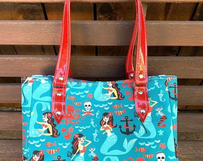 Vinyl Shoulder Bag - Retro Rockabilly Sirens - Mermaids - Cats - Handbag - Purse
