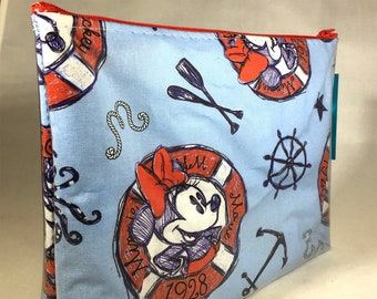 Nautical Mickey and Minnie Mouse - Make Up Bag