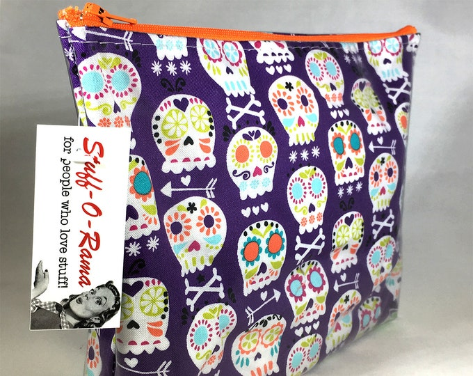 Make Up Bag - Mexican Sugar Skulls Purple Zipper Pouch