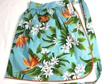 Half Apron - Vintage Pin Up Skirt Style - Bird of Paradise