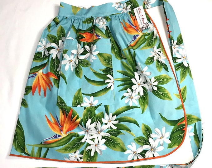 Half Apron - Vintage Pin Up Skirt Style - Bird of Paradise