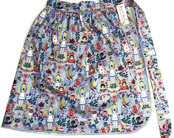 Half Apron - Vintage Pin Up Skirt Style - Alice In Wonderland