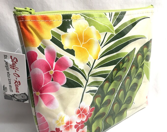 Make Up Bag - Hibiscus Cream Zipper Pouch