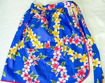 Tropical Flowers - Blue Plumeria Leis - Frangipani - Half Apron - Vintage Pin Up Skirt Style