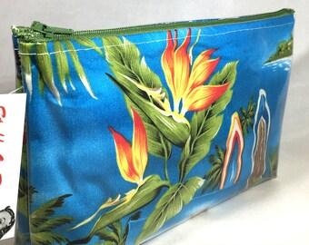 Tropical Flowers - Blue - Surfboards and Bird of Paradise - Make Up Bag - Hawaiian Aloha Print