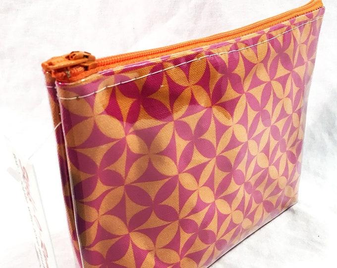 Make Up Bag - Plumeria Tapa Cloth Hot Pink Orange