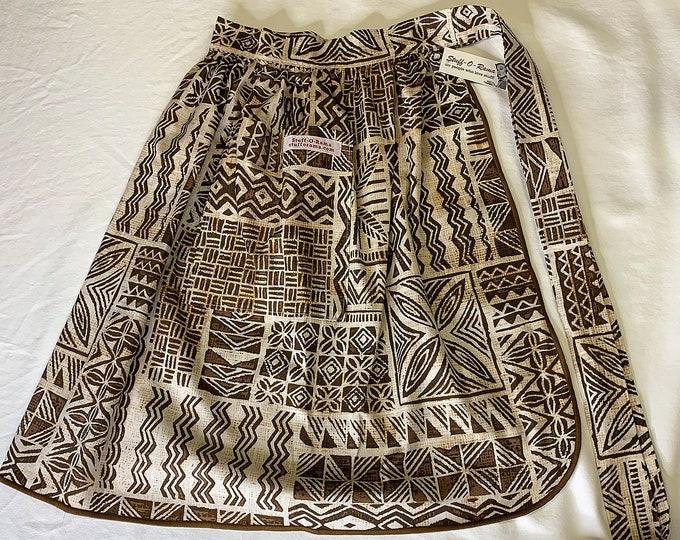 Half Apron - Vintage Pin Up Skirt Style - Brown Tapa Cloth tiki