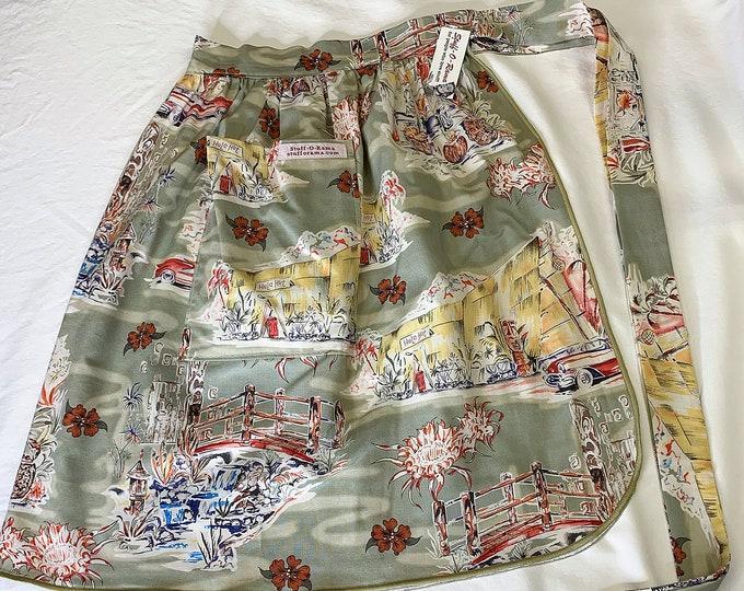 Tiki Bar, Classic Cars, and  Tiki Mugs - Half Apron - Vintage Pin Up Skirt Style
