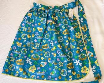 Kawaii Hawaiian Islands Icons - Half Apron - Vintage Pin Up Skirt Style