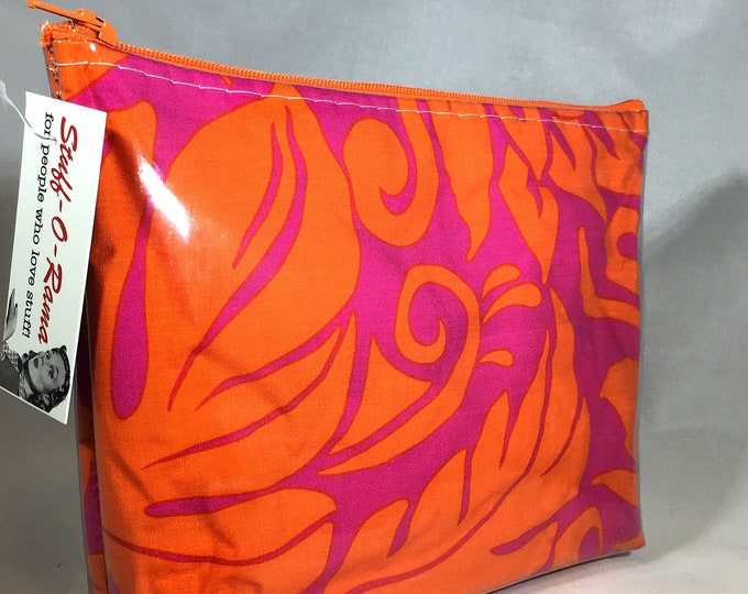 Make Up Bag - 60s Aloha Print Zipper Pouch