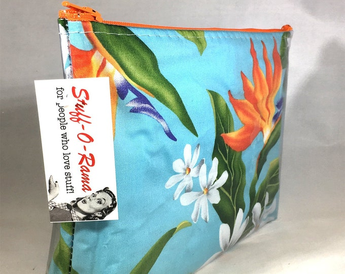 Make Up Bag - Hawaiian Bird of Paradise Aloha Print Zipper Pouch