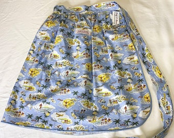 Blue Hawaiian Native Islands - Half Apron - Vintage Pin Up Skirt Style