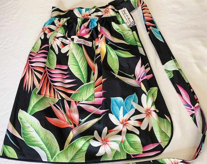 Half Apron - Vintage Pin Up Skirt Style - Black Bird of Paradise Helaconia