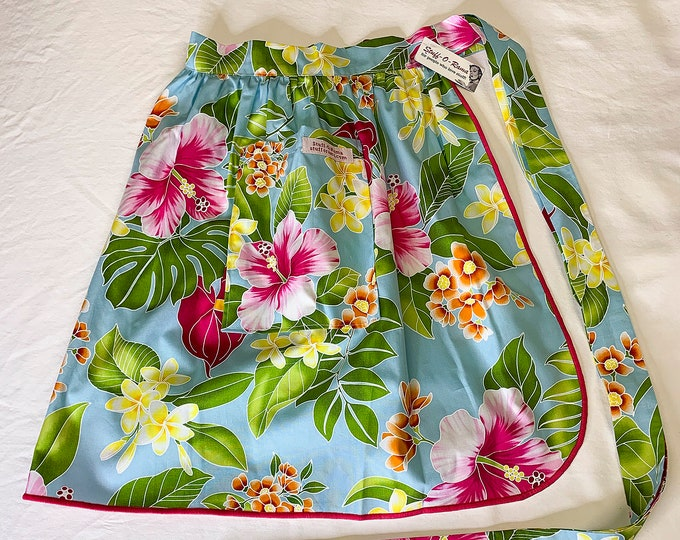 Half Apron - Vintage Pin Up Skirt Style - Blue Pink Hibiscus