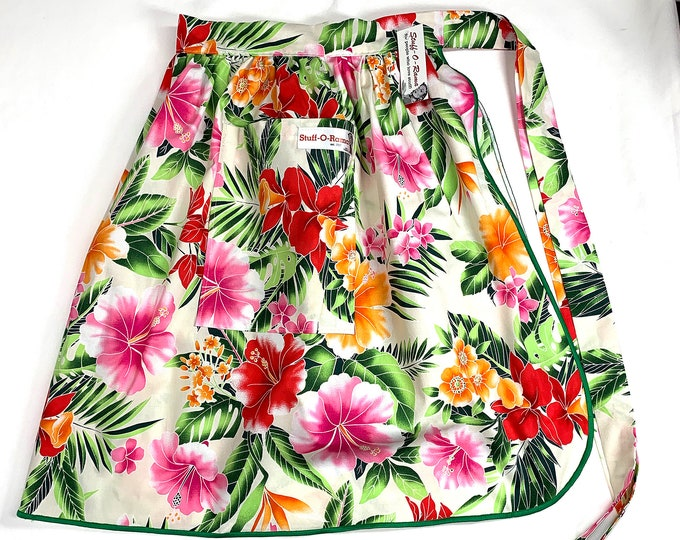 Tropical Flowers - Cream Pink Hibiscus - Half Apron - Vintage Pin Up Skirt Style