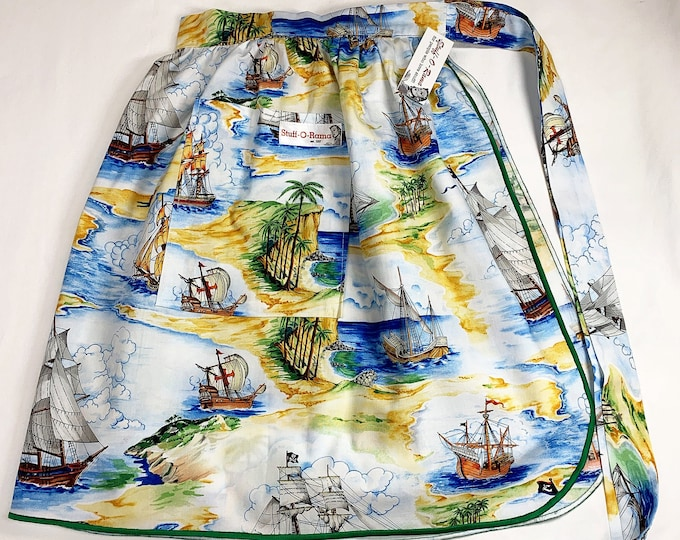 Pirate Ships - Half Apron - Vintage Pin Up Skirt Style