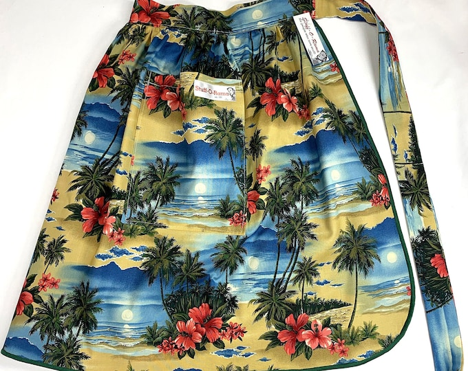 Half Apron - Vintage Pin Up Skirt Style - Beach Scene Hibiscus Palm Trees 70s