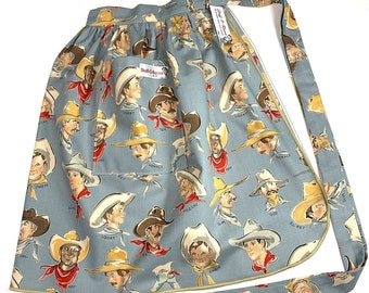 Old Timey Cowboys - Half Apron - Vintage Pin Up Skirt Style