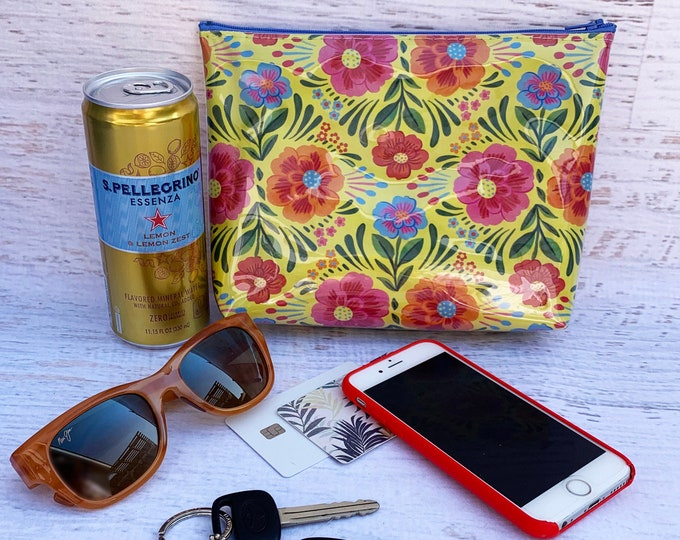 Las Flores de México - Yellow - Make Up Bag