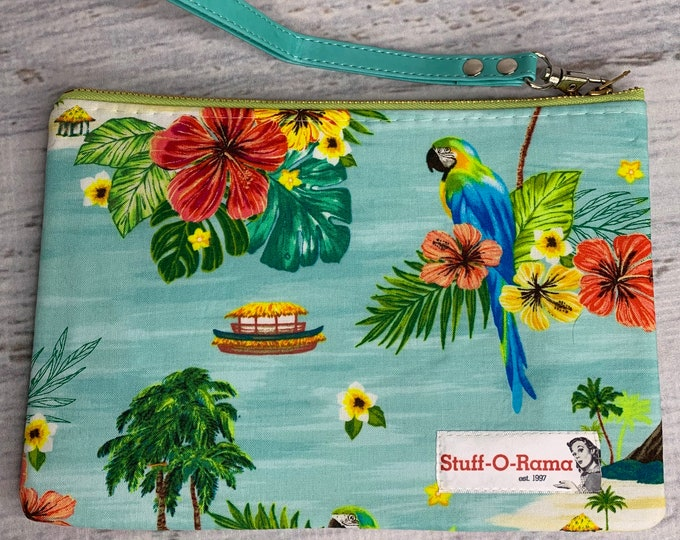 Tropical Island Parrots - Hawaiian Aloha Print - Clutch Wallet Wristlet