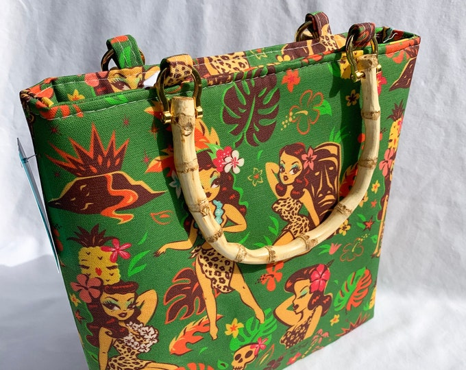 Tote Bag Purse Handbag - Tiki Temptress Green by Miss Fluff