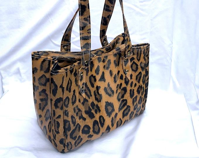All Over Leopard Print - Vinyl Shoulder Bag - Handbag - Purse - Bag - Vegan Leather