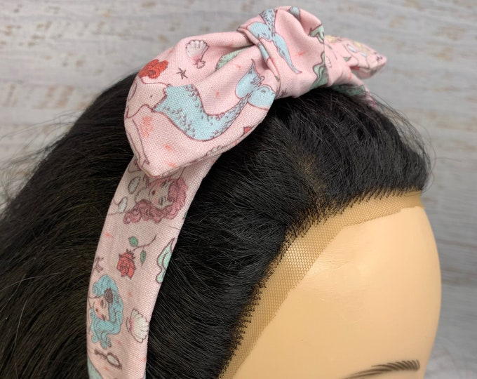 Miss Fluff Mermaids and Roses - Pin Up Style Tie Knot Headband with Removable Bow - Hair Wrap - Cotton - Aloha Print - Hawaiian Print