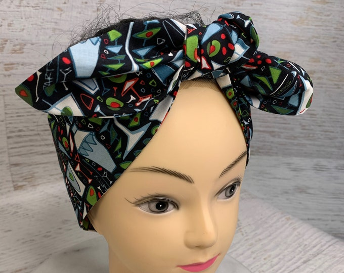 It's Martini Time - Pin Up Style Wide Head Scarf - Hair Wrap - Cotton Headband - Cocktails