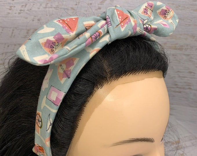 Summer Cocktails - Blue - Pin Up Style Tie Knot Headband with Removable Bow - Hair Wrap - Cotton Headband - Cocktails - Pool Party