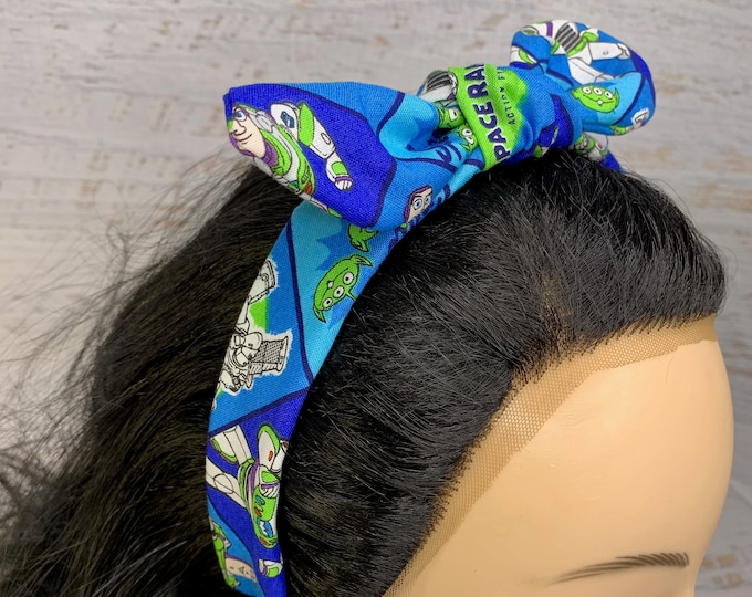 Space Ranger - Buzz Lightyear - Toy Story - Pin Up Style Tie Knot Headband with Removable Bow - Hair Wrap - Cotton Headband