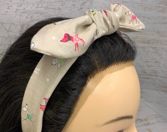 Dogs in Sweaters - Pin Up Style Tie Knot Headband with Removable Bow - Hair Wrap - Cotton Headband - Retro Style