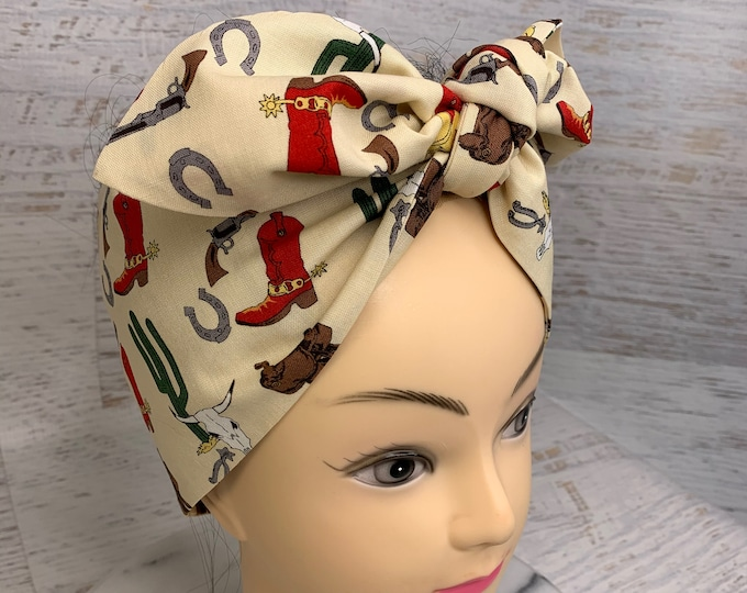 Western Desert Cowboy - Pin Up Style Wide Head Scarf - Hair Wrap - Cotton - Country - Western - Retro Vintage - Rockabilly