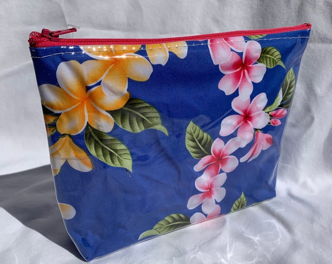 Tropical Flowers - Blue - Pink and Yellow Plumeria Leis - Makeup Bag