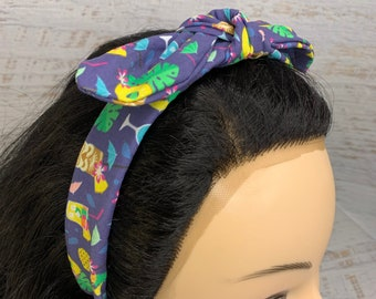 Hawaiian Summer Cocktails - Pin Up Style Tie Knot Headband with Removable Bow - Hair Wrap - Cotton Headband - Cocktails - Tiki Bar