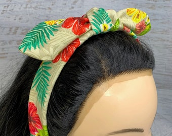 Tropical Print - Hibiscus Flowers - Pin Up Style Tie Knot Headband with Removable Bow - Hair Wrap - Cotton - Aloha - Hawaiian Print - Floral