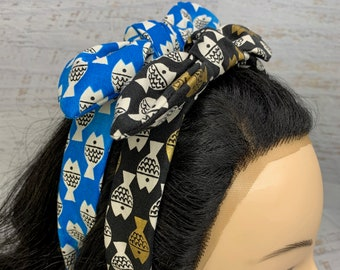 Christian Robinson Spectacle Fish Friends - Blue or Black Gold - Pin Up Style Tie Knot Headband with Removable Bow - Hair Wrap - Cotton