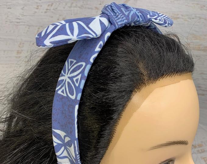 Tapa Cloth - Blue Oceanic- Pin Up Style Tie Knot Headband with Removable Bow - Hair Wrap - Cotton - Aloha Print - Hawaiian Print - Tropical