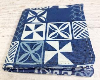 Blue Tapa - Cotton Canvas Bi-Fold Wallet - Billfold - Tiki - Disneybound - Enchanted Tiki Room
