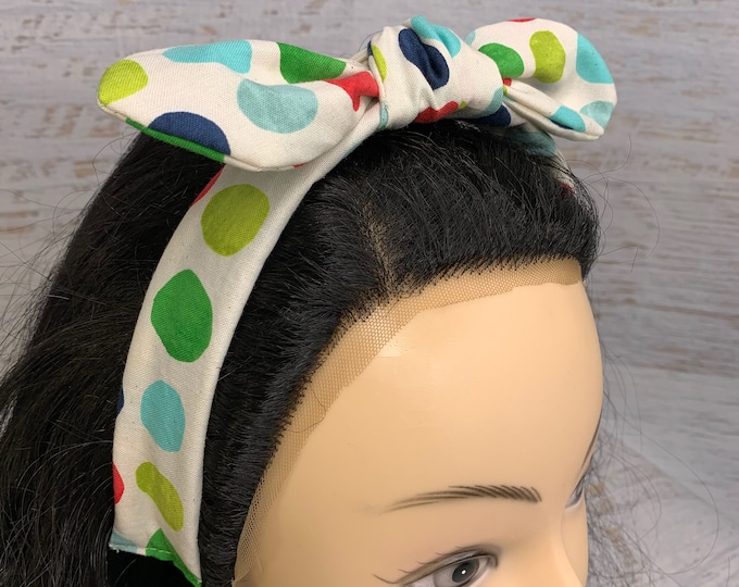 Rock the Dots - Winter Polka Dots - Pin Up Style Tie Knot Headband with Removable Bow- Hair Wrap - Cotton - Retro - mid century modern MCM