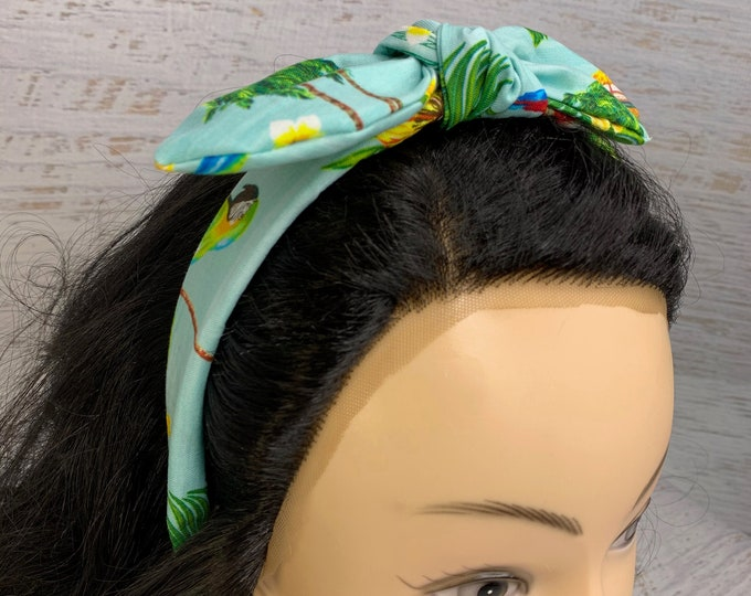 Tropical Parrot Island - Pin Up Style Tie Knot Headband with Removable Bow- Hair Wrap - Cotton - Aloha- Hawaiian Print - Tropical - Floral