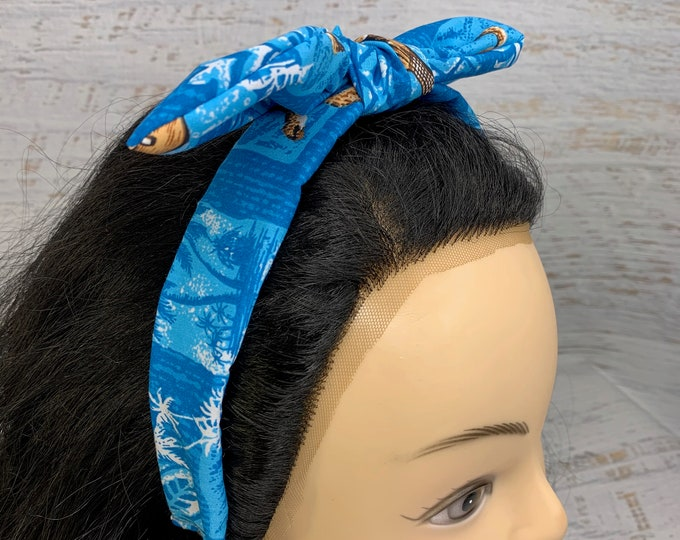 Blue Honu Sea Turtle and Ukulele - Pin Up Style Tie Knot Headband with Removable Bow - Hair - Cotton - Tapa Cloth - Aloha Hawaiian Tropical