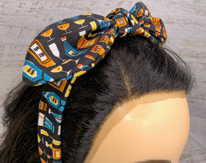 MidCentury Mod Cocktails - Pin Up Style Tie Knot Headband with Removable Bow - Hair Wrap - Cotton Headband - Cocktails - Tiki Bar - MCM