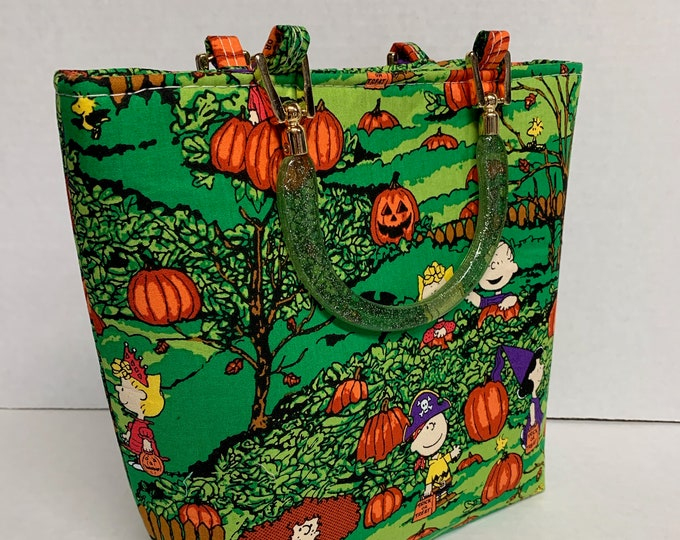 Tote Bag Purse Handbag Great Pumpkin Charlie Brown Peanuts Lucy Linus Snoopy Sally Halloween spoopy spooky gifts for her