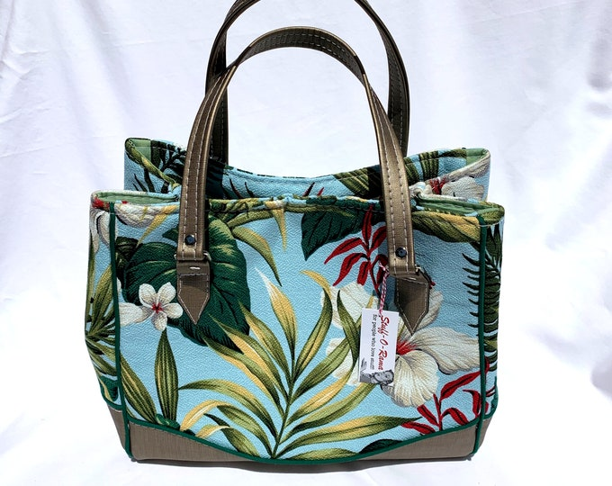 Vinyl Shoulder Bag - Blue Hibiscus Garden Sky Kahala Barkcloth