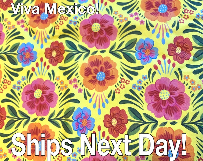 FABRIC - Paintbrush Studio - Viva Mexico - Yellow - 100% Cotton - By the Yard - Ships Next Day From The US