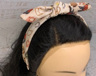 Cowgirl Cowboy Style - Pin Up Style Tie Knot Headband with Removable Bow - Hair Wrap - Cotton - Country Western - Retro Vintage - Rockabilly