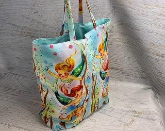 Retro Mermaids - Reusable Canvas Large Shopping Tote Bag